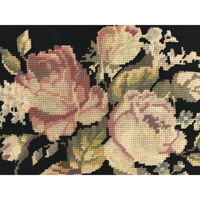 Antique Needlepoint 'Rose' Gilt Wood Foot Stool For Sale In Tampa - Image 6 of 7