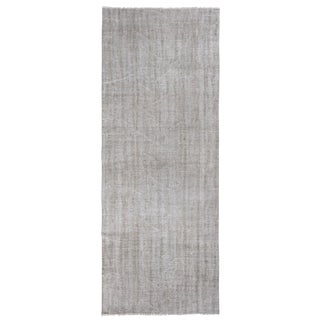1960s Vintage Distressed Turkish Oushak Runner Rug - 3′8″ × 9′8″ For Sale