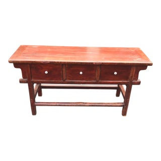 Mid-Century Distressed Wood Chinese Buffet For Sale