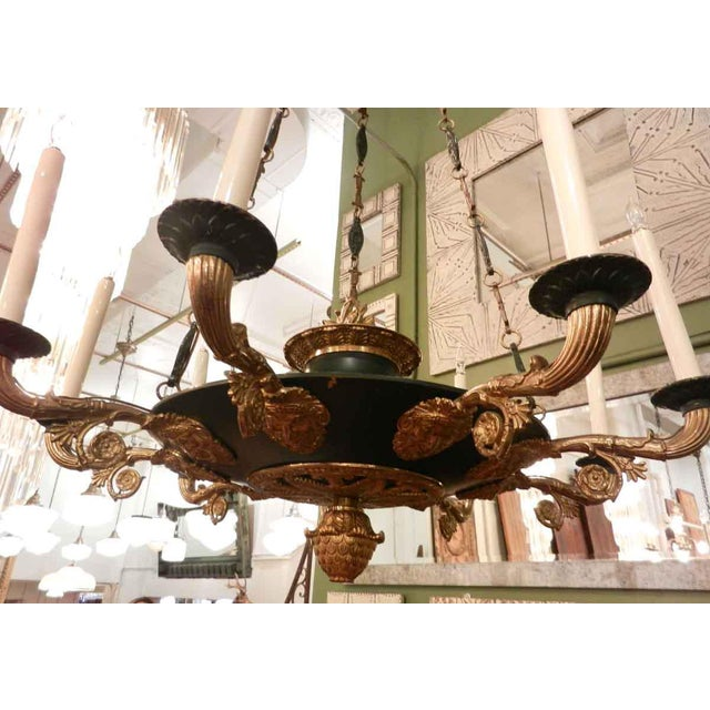 Two-Toned Empire 10 Light Bronze Chandelier For Sale - Image 10 of 11