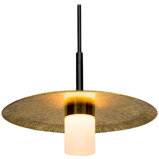 Arthur Pendant With Polished Etched Sunburst Brass Shade, Hand Blown Opal Glass For Sale