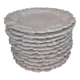 Italian Mid Century White Glazed Intricate Edged Majolica Plates-Set of 11 For Sale