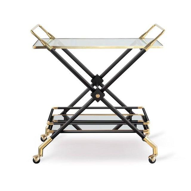 Mid-Century Modern Hudson Bar Cart in Noir For Sale - Image 3 of 3