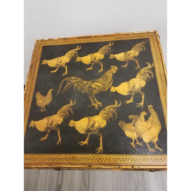 Traditional Antique Bamboo Table With Decoupage Roosters For Sale - Image 3 of 8