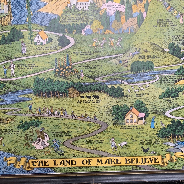 """This is an original Jaro Hess map of """"The Land of Make Believe"""" copyright 1930, published by The Child's Wonderland..."""