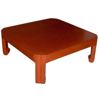 1970s Modern Mark Hampton Custom Linen Wrapped Low Table For Sale