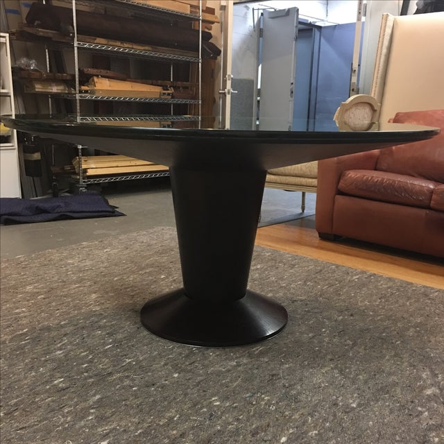 Contemporary Glass Top Pedestal Dining Table - Image 3 of 8