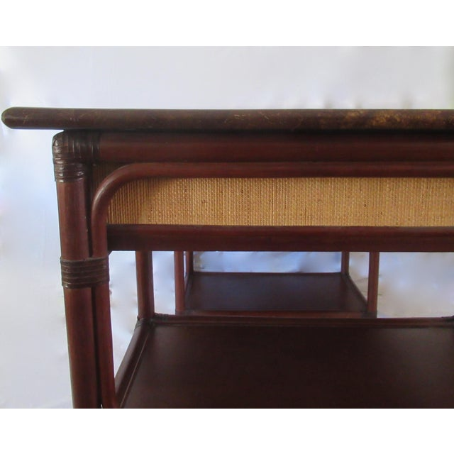 Brown 1970s British Colonial-Style Rattan Tobacco Leaf Top Writing Desk For Sale - Image 8 of 13