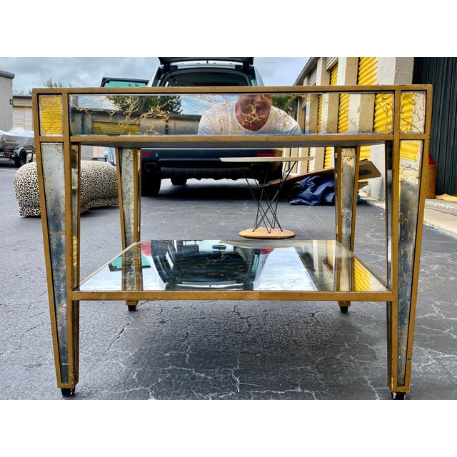Hollywood Regency Mirrored End Table For Sale - Image 4 of 10