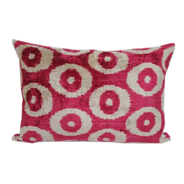 Red & Cream Silk Velvet Pillow - Image 1 of 2