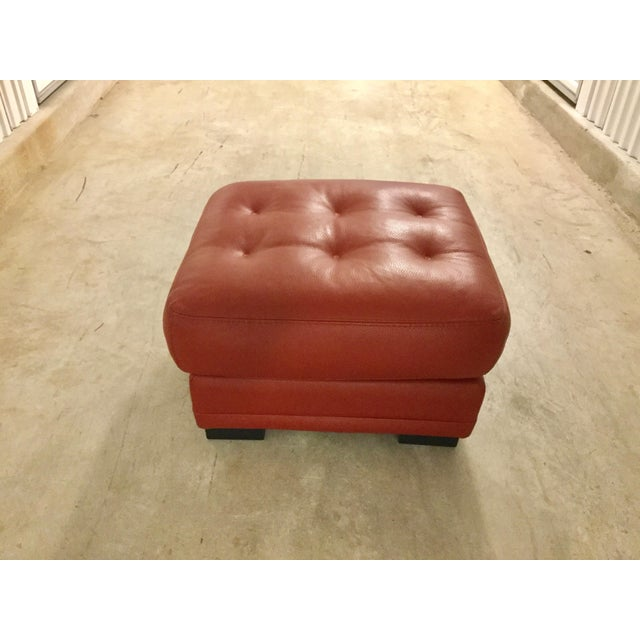 Fashionable and Luxurious this leather sofa is in excellent condition. Tone on tone stitching, upgraded leather, made in...