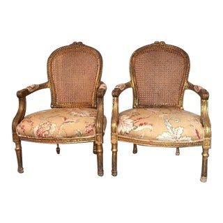1930s Vintage French Cane Back Parlor Chairs - A Pair For Sale