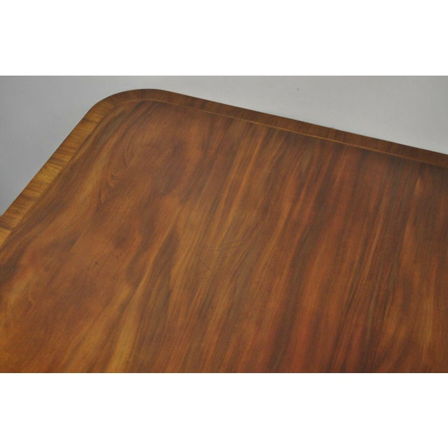 Antique Square Banded Mahogany Duncan Phyfe Dining Conference Room Table For Sale - Image 11 of 13