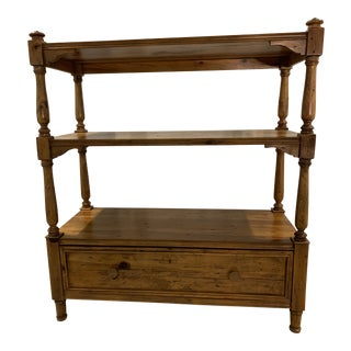 Ralph Lauren Classic Rustic Pine Etagere Shelving Unit With Drawer For Sale