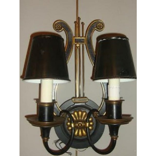 Harp-Form Wall Sconces - A Pair - Image 3 of 7