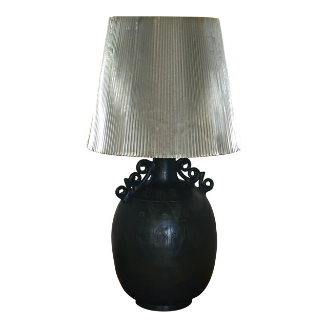 Teal-Black Table Lamp - Image 1 of 4