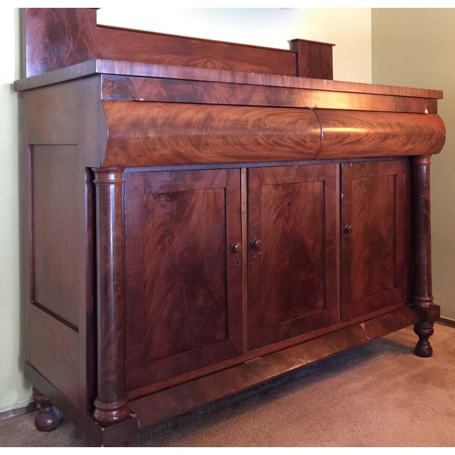 Antique Empire Style Mahogany Veneer Sideboard - Image 3 of 8