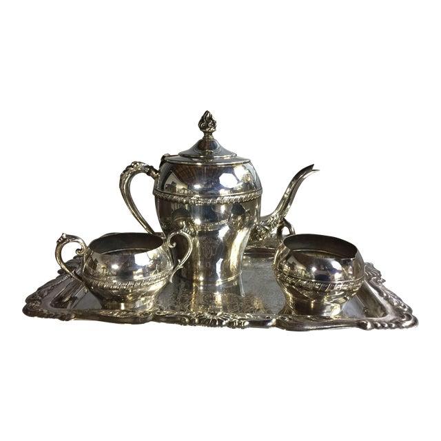 Art Nouveau Silver-Plate Tea Set - 4 Pc. Set For Sale