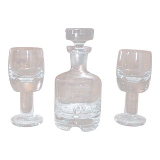 Mid-Century Modern Danish Kosno Poland Crystal Decanter & Wine Glasses - 3 Piece Set For Sale