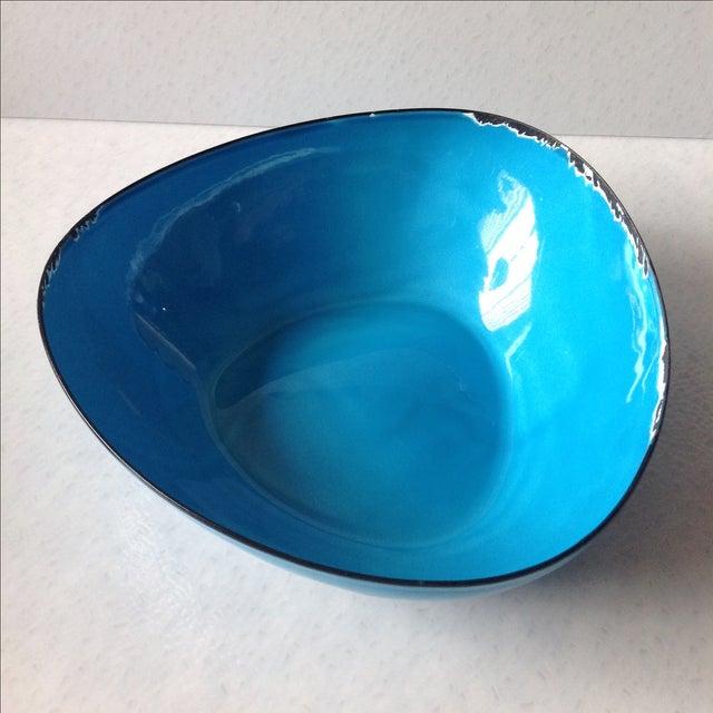 Mid-Century Modern Blue Enamel Metal Bowl - Image 5 of 11