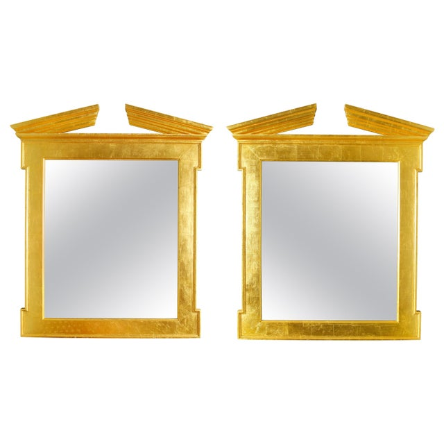 Mid 20th Century Pair of Modern Regency Style Giltwood Mirrors For Sale - Image 5 of 5