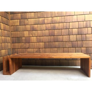 1960s Vintage Walnut Bench With Magazine Holder Preview