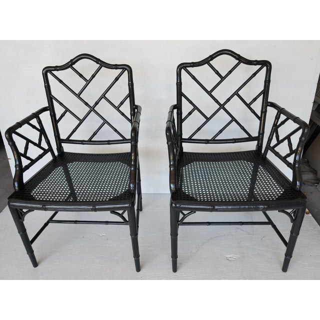 Asian Vintage Wood Chippendale Chairs - Set of 6 For Sale - Image 3 of 7