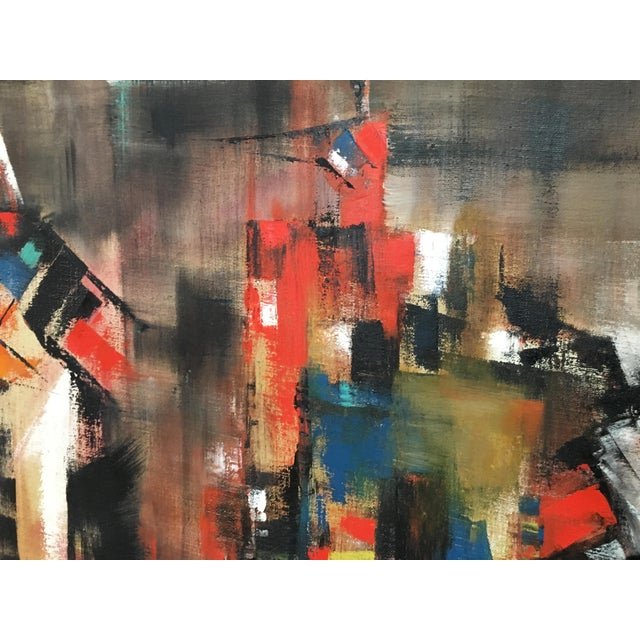 Mid 20th Century Abstract Oil Painting on Canvas Signed Wagner For Sale - Image 5 of 9