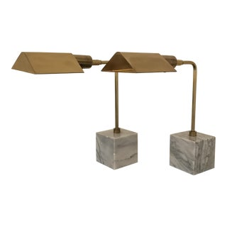 Koch & Lowy Mid-Century Brass Table Lamps- a Pair