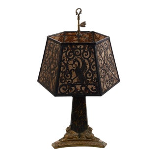 Antique French Table Lamp W/Bronze Sphinxes and Rams Heads For Sale
