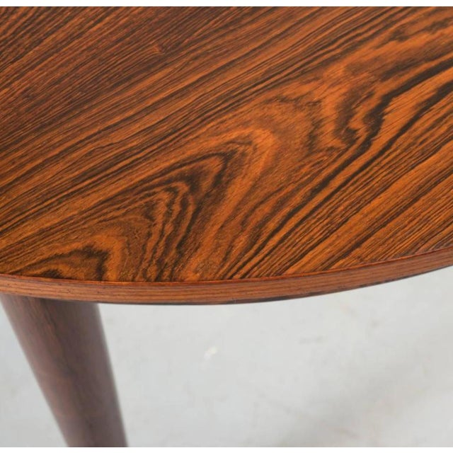 Round Hans Olsen Rosewood Dining Table with Extension Leaf - Image 8 of 9