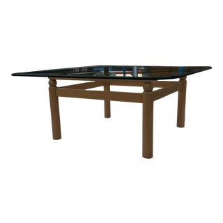 Mid-Century Modern Ethan Allen Hardwood Base Square Thick Beveled Glass Top Coffee Table For Sale