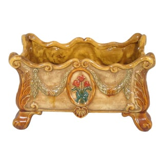 1990s Hand Painted Majolica Style Footed Planter For Sale