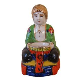 Early 20th Century Art Deco Buddha Japanese Porcelain Incense Burner For Sale