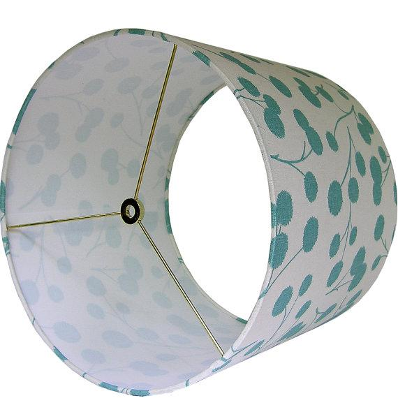 New, Made to Order, Large Drum Shade, Kravet's Burnet Fabric in Ocean - Image 2 of 3