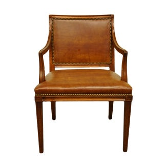 Late 20th Century Vintage Hickory Chair Co. Classic Style Studded Leather Accent Arm Chair For Sale