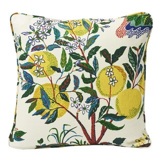Schumacher Double-Sided Pillow in Citrus Garden Primary Linen Print For Sale