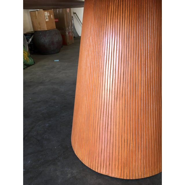 "Wood High Style Guitar Pick Shaped ""Knife Edge"" Dining Room Table With Tapered Base For Sale - Image 7 of 8"