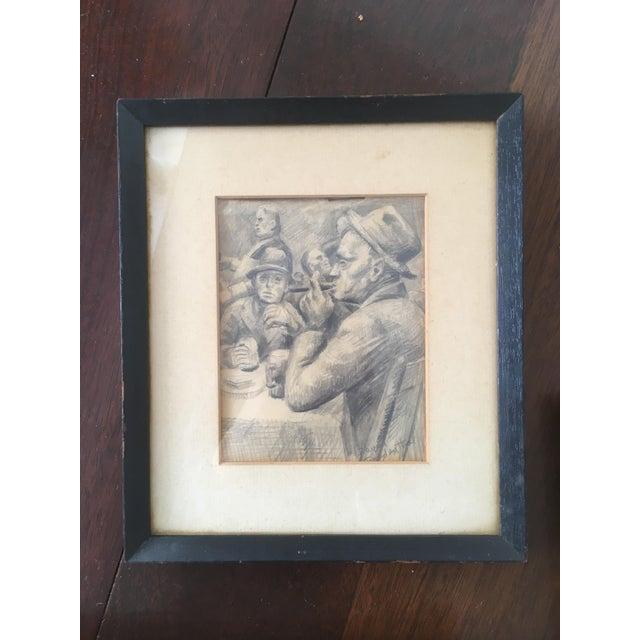 Rare Vintage Set of Original David Fredenthal Drawings - Boxer, Portrait, Card Game Amazing Vintage Find Wonderful Vintage...
