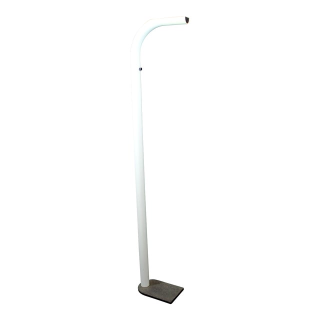 Mid Century Modern White Lacquer Metal Halogen Oca Floor Lamp By Eleusi Italy For Sale