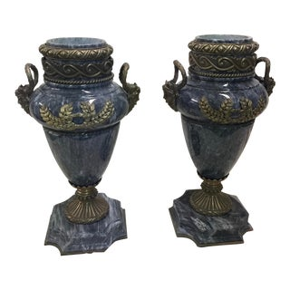 Maitland Smith Marble and Brass Fench Style Urns
