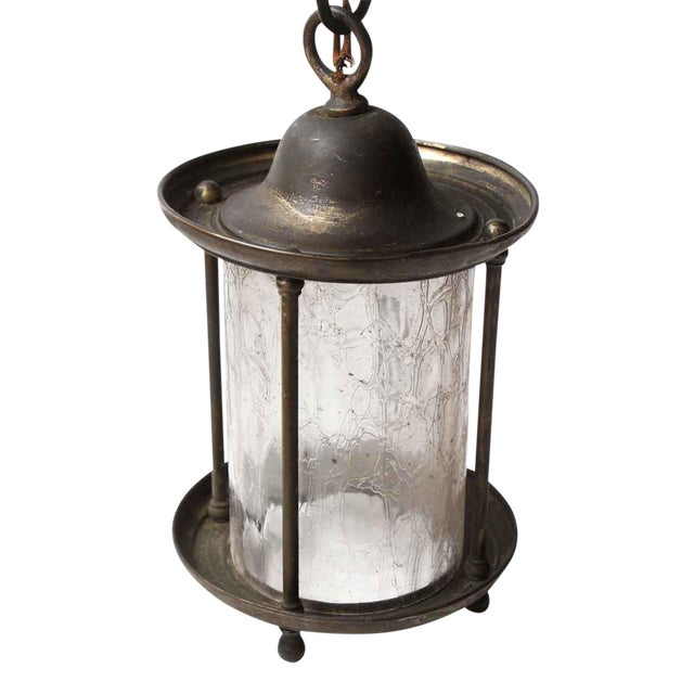 Brass Lantern With Textured Glass For Sale