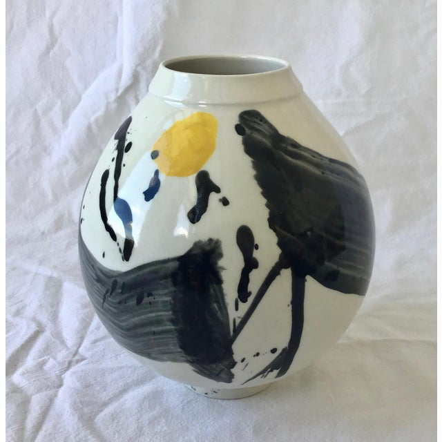 2010s Contemporary Ceramic Calligraphic Yellow and Black Moon Vase For Sale - Image 5 of 5