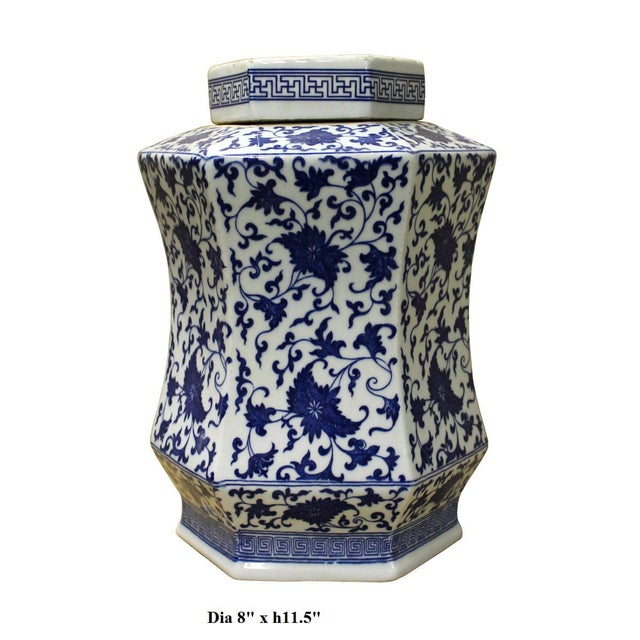 Chinese Blue & White Hexagon Porcelain Jar - Image 6 of 6