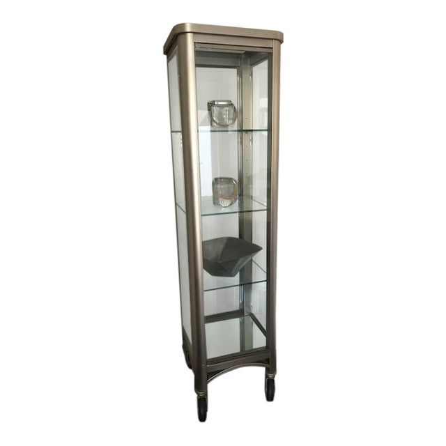 Ethan Allen Radius Collection Brushed Nickel Curio For Sale