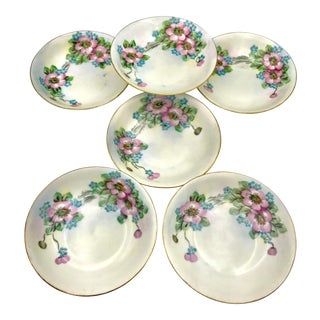 1920s Vintage Hutschenreuther Selb Bavaria Lhs Hand Painted Berry Bowl - Set of 6 For Sale