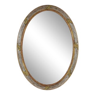 French Louis XVI-Style Carved Giltwood Oval Wall Mirror For Sale