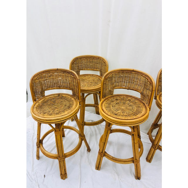 Set Vintage Bamboo & Wicker Stools For Sale In Raleigh - Image 6 of 11