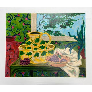"""Washbowl & Pitcher"" Original Hand-Numbered Serigraph by Jan Dorion Whitney Circa 1992 For Sale"