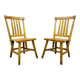 2 Vintage Rustic Adirondack Old Hickory Style Knotty Pine Dining Side Chairs